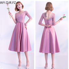 a92c4585519b KBS036Z O-Neck Medium Pale Mauve lace up Bridesmaid Dresses wedding party  dress prom gown wholesale fashion women clothing China