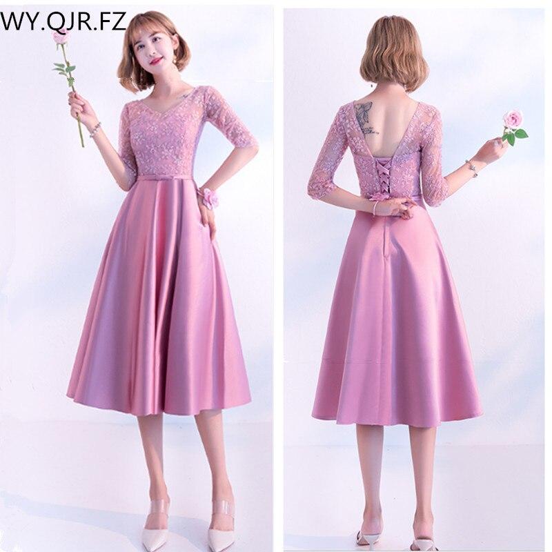 KBS036Z#O-Neck Medium Pale Mauve lace up   Bridesmaid     Dresses   wedding party   dress   prom gown wholesale fashion women clothing China