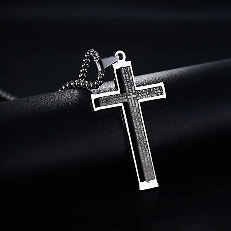 Fashion Men Cross Necklaces Stainless Steel Black Crucifix Bible Prayer Pendant Choker Jewelry Colar Masculino
