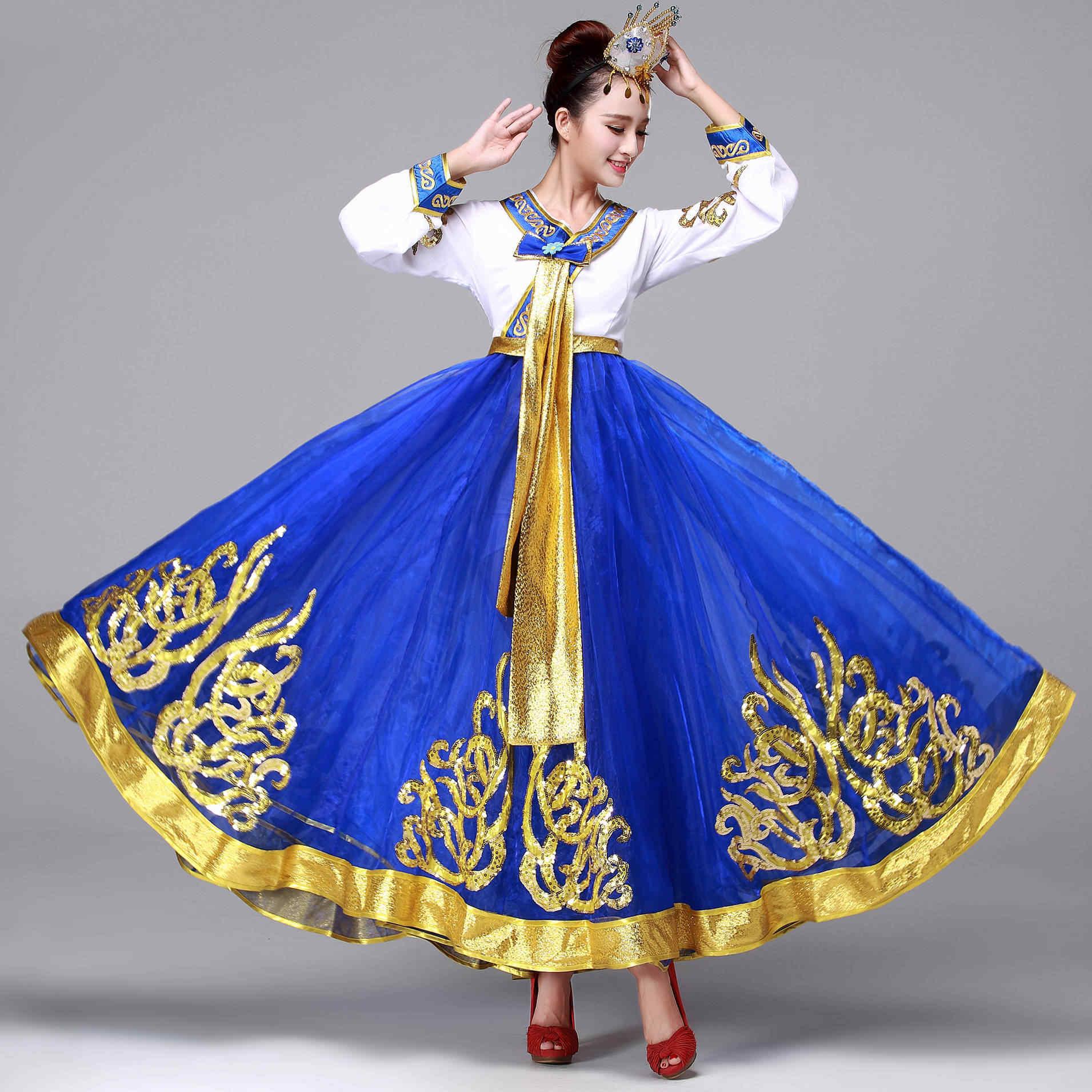 למרבה המזל, זה גדול חתיכת תחפושת ריקוד תלבושות הלאומי של נשים hanbok קוריאנית ארוך קוריאני תלבושות