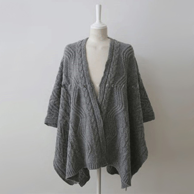 Cardigan Irregular Batwing Tops Knitted Poncho Sweater 5