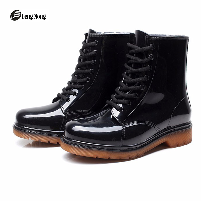 Fengnong New Rain Boots Warm Fashion Platform Slip On Waterproof  Motorcycle Martin Ankle Boots Flat With Woman Shoes w017