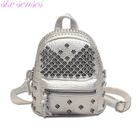 Women Mini Backpacks PU Leather Riveting Casual Bags Classical Teenagers Fashion Travel Rivet Back Pack Bag
