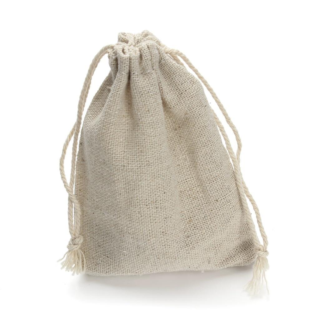 10pcs/lot 8*10/9*12/10*14/13*17cm Drawstring Pouch Christmas Wedding Gift Bag Jewelry Cloth Linen Flax Fabric Packaging F2759