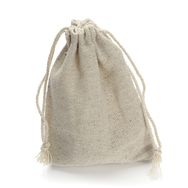 10pcs Lot 8 10 9 12 14 13 17cm Drawstring Pouch Christmas Wedding Gift Bag Jewelry Cloth Linen Flax Fabric Packaging F2759 In Display