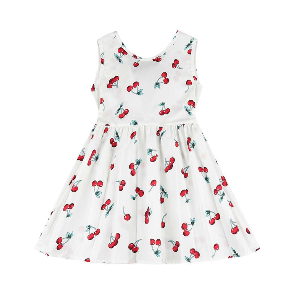 Çocuklar kız çocuk yaz elbisesi Çocuk Pamuk Kolsuz Elbiseler Kiraz Baskı Kızlar için Elbise Moda Kız Giyim Prenses Elbise