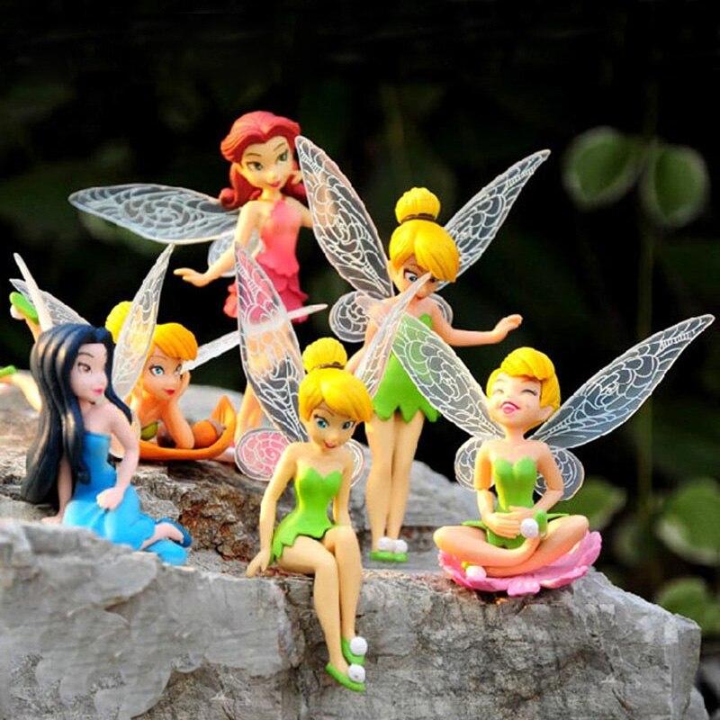 6pcs/Set Christmas Kids Gift Tinkerbell Dolls Flower Children Animation Cartoon Toys Girls Dolls Baby Toy