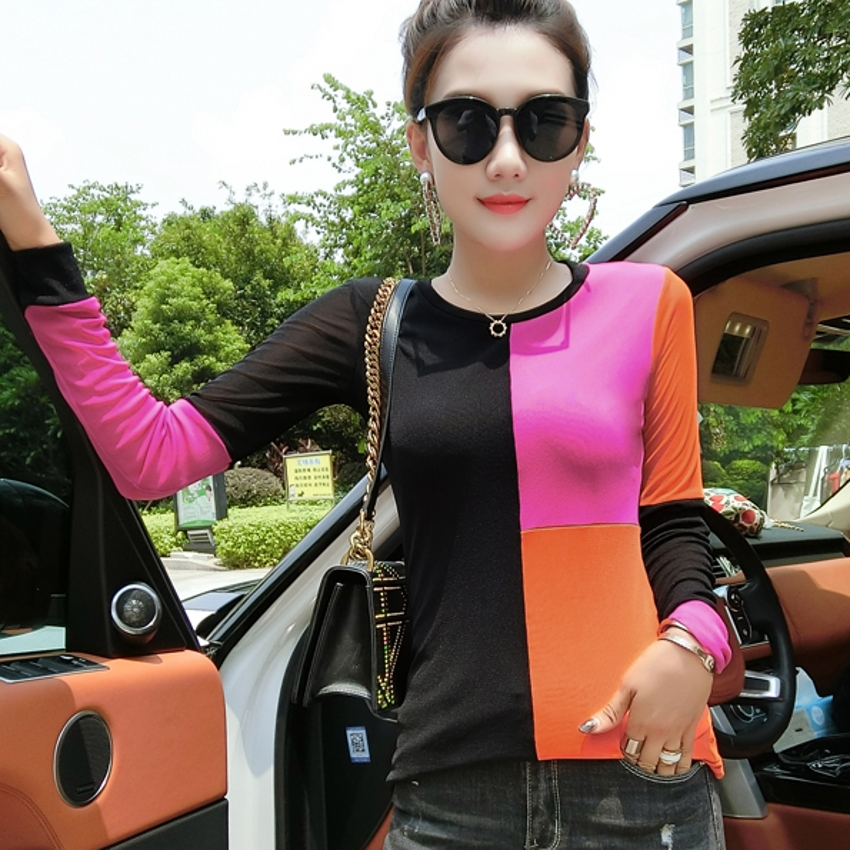 European New Mesh Patchwork Tshirt 2019 Autumn Summer Top Long Sleeve Clothes Shirt Camiseta Mujer Slim Bottoming Shirt T97111