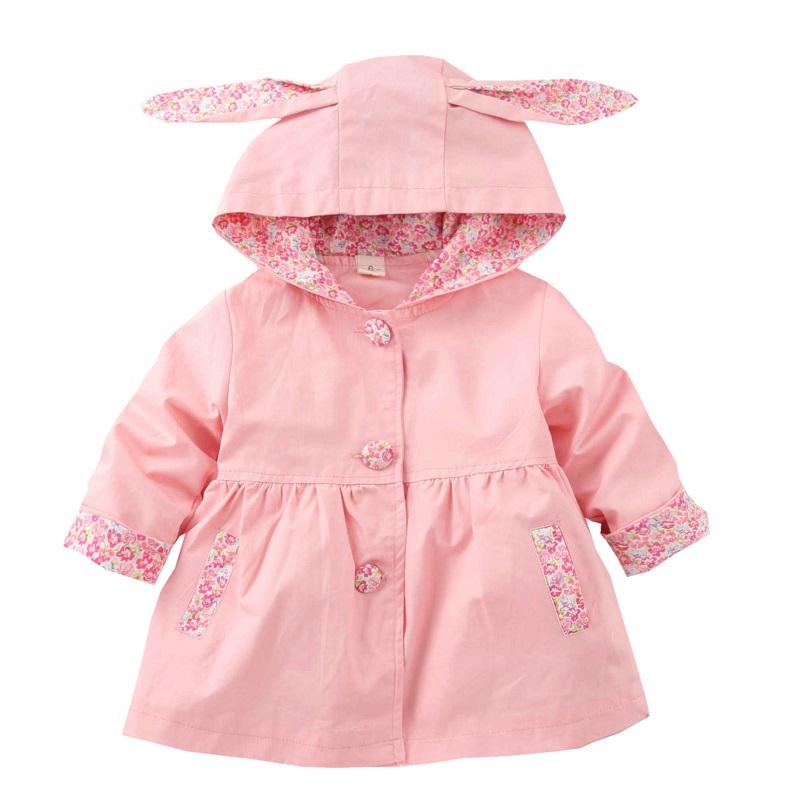 Hooded Baby Girls Coat 1-4 Years Kids Cotton Jacket Clothing For Girls Spring Autumn Manteau Fille Windbreaker KF255