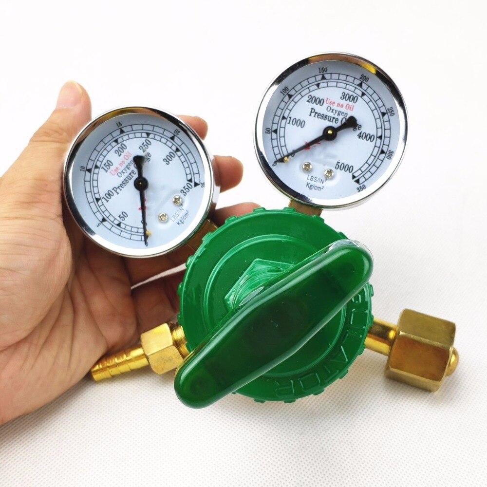 Zu 0-25 Kg/cm2 Gut Dual Gauge Schweißen Schneiden Gas Druck 0-350 Kg/cm2 G5/8 Einlass Sauerstoff Regler 0-2.5mpa 0-35mpa 0-5000psi