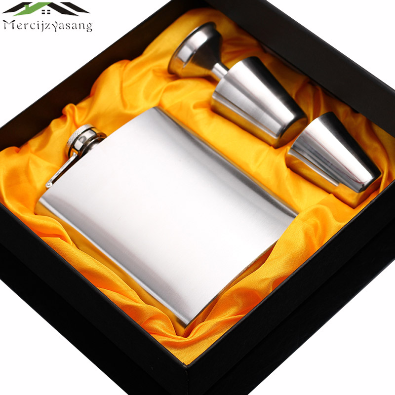 New portable stainless steel hip metal flask sets brand gift travel whiskey alcohol liquor flagon golden Male Mini Bottles