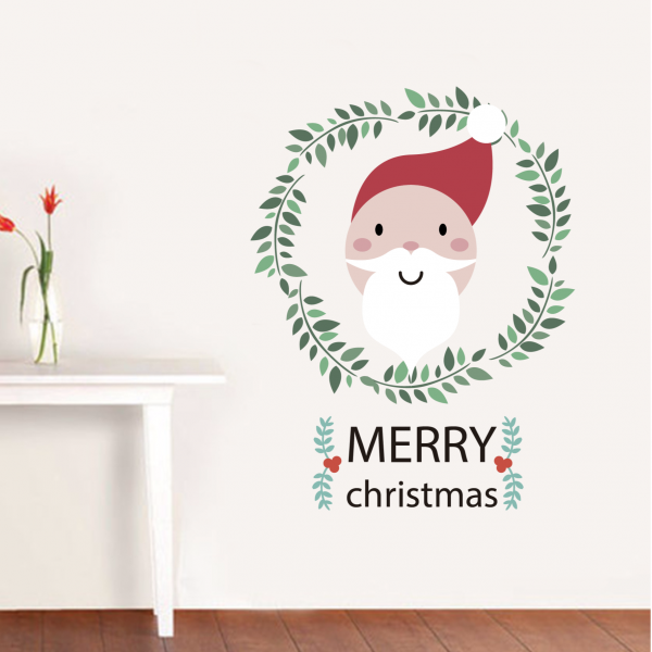The santa claus with beard merry christmas illustration wall stickers window sticker nursery decoration decal kids