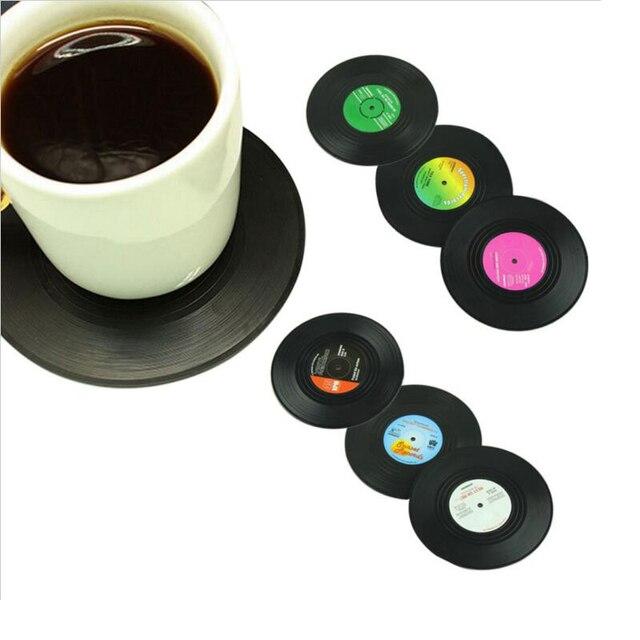 6 unids/set tapete de la taza de la Mesa del hogar decoración creativa mantel de la bebida del café vajilla giratoria Retro de vinilo CD bebidas posavasos