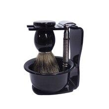 Professional Shaving Set with Razor Holder & Silvertip Badger Brush