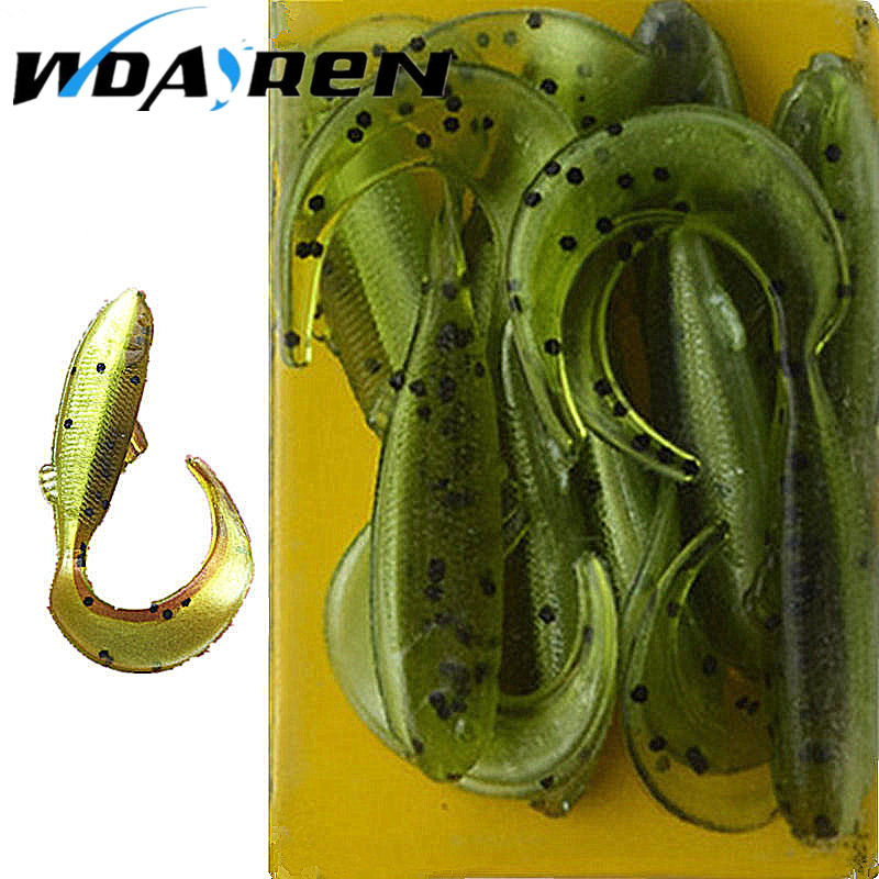 WDAIREN 10 Pcs/Lot Lures Soft Bait 47mm 1g silicone bait Worms fishing lure Fishing Takcle Grub Artificial Lures FA-254 joshnese 16pcs lot 5cm 1 3g lures soft bait worms fishing lure with salt smell hot fishing takcle grub artificial lures