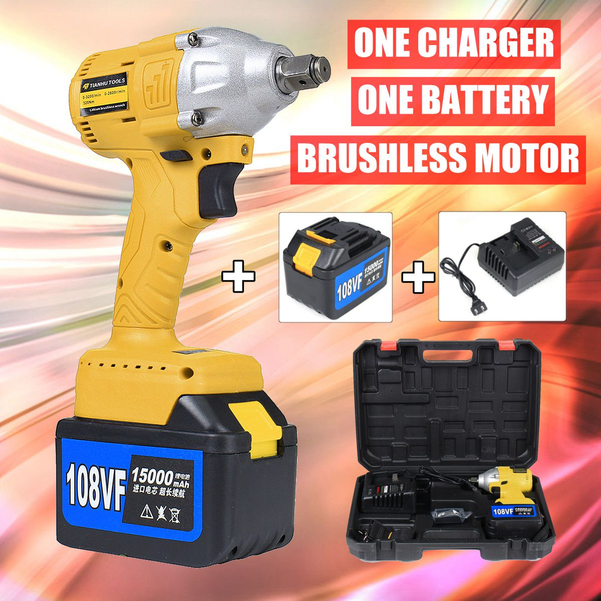 108V Cordless Impact Wrench 1/2 Rechargeable 15000mAh Lithium Battery 320Nm Brushless Electric Wrench tenwa20v brushless electric impact wrench cordless rechargeable lithium battery socket impact digital electric wrench