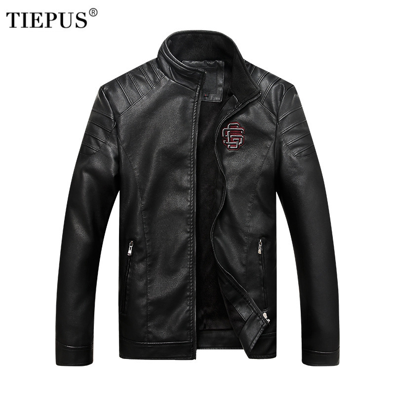 TIEPUS autumn and winter new leather jacket mens PU stand collar plus velvet warm Slim fit business leather jacket men coats