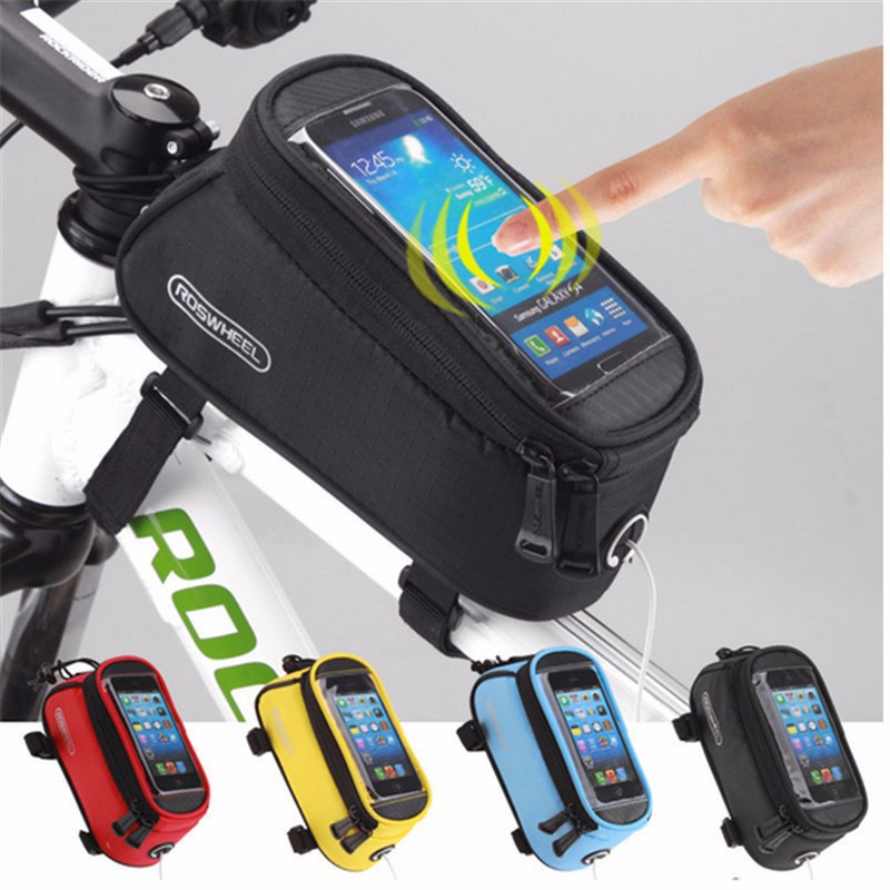 ROSWHEEL Bike Frame Front Tube Bag Cycling Riding Bag Pannier 4.2 4.8 5.5Phone Touch Screen Case Bicycle Accessories 7 Colors bicycle touch screen tube bag bike cycling touch screen mobile phone bag pannier bag