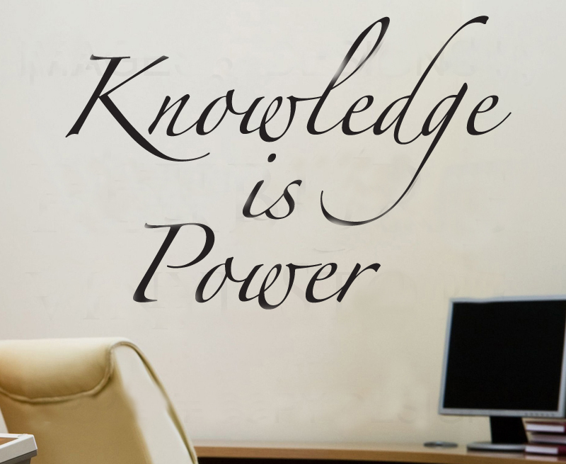 Knowledge Is Power Library Study Room Art Vinyl Wall Sticker Decal Decor Quote Lettering Home