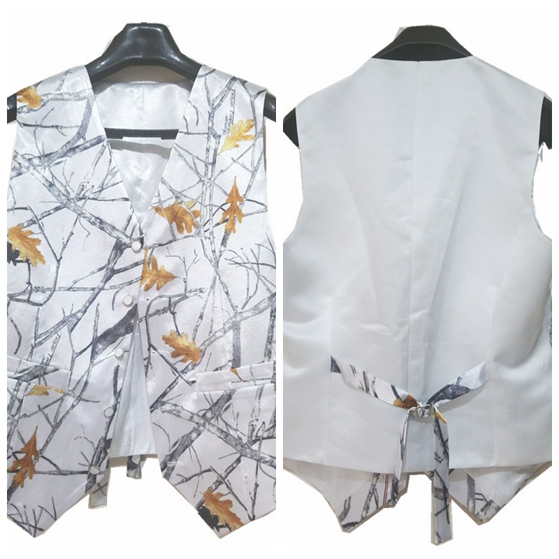White Satin White Camo Men Vest Custom Camouflage Groom Groomsmen Vests Father And Boy Matching Vest Custom Country