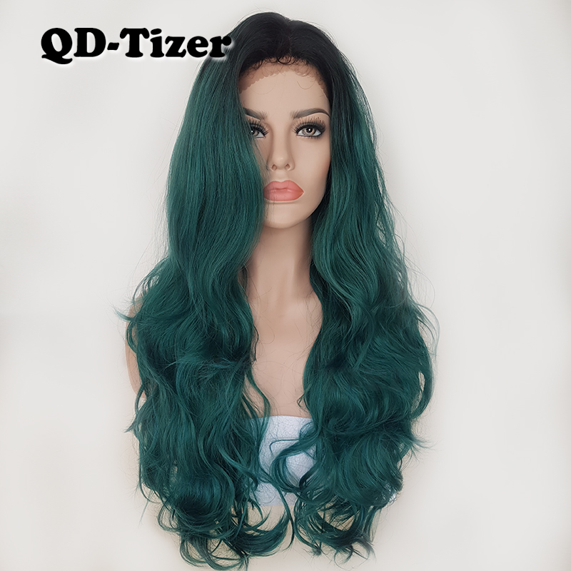 Long Body Wave Glueless Lace Front Wigs Ombre Green High Quality Wavy Hair Heat Resistant Synthetic
