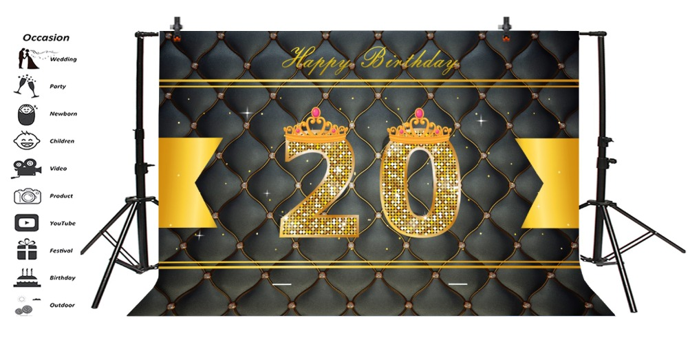 Laeacco Leather Diamonds Glitters Girl 20th Birthday Photography Backgrounds Customized Photographic Backdrops For Photo Studio in Background from Consumer Electronics