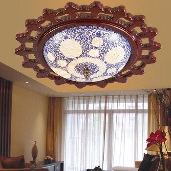 خشبية جولة السيراميك ضوء السقف دراسة غرفة المعيشة ممر شرفة الأزرق/أبيض مصباح السقف كلاسيكا زا ZS28-في أضواء السقف من مصابيح وإضاءات على
