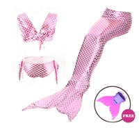 4PCS Set Baby Girls Swimming Mermaid Tail Bikini Set With Monofin Flipper Swimmable Zeemeerminstaart Met Monofin