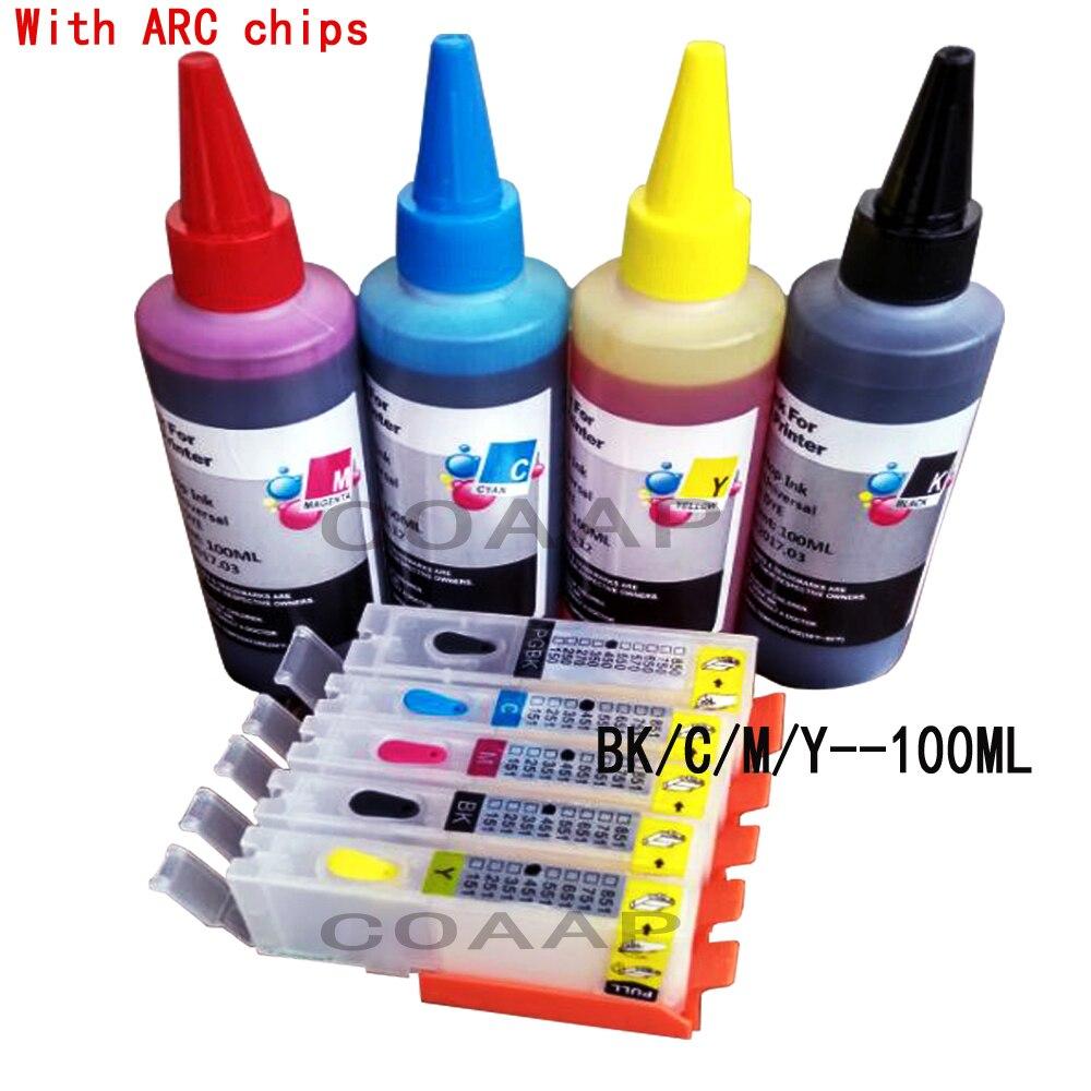 Набор картриджей для принтера canon 550 551, многоразовые чернильные картриджи с чипами ARC + 400 мл, чернила для принтера canon Pixma MX725 / MX920 / MX925 / MG5655