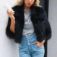 07b7325b22f5e Для женщин искусственный мех куртка ворсистый, пушистый однотонная одежда  3/4 рукав зима теплая