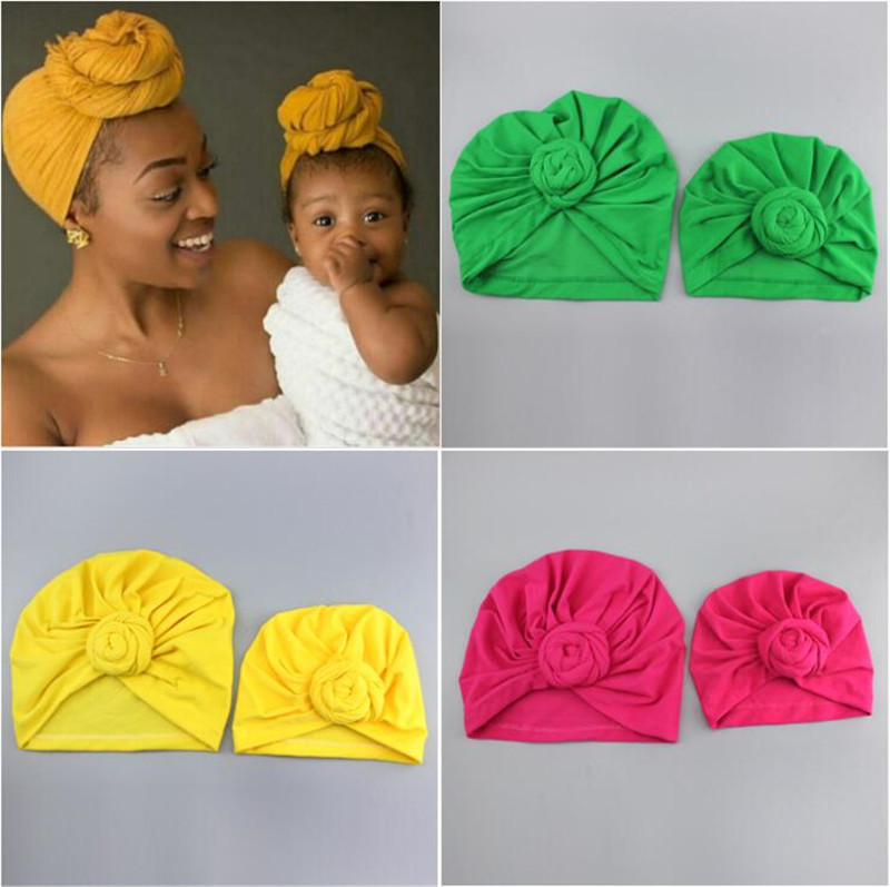 Knot Turban Indian Hat Mother Girls Kids Turban Headband Hair Head Bands Wrap Bandanas Accessories Headscarf Headwrap Headdress
