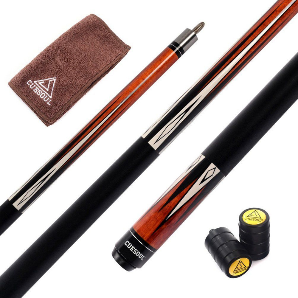CUESOUL Full A+++ Canadian Maple Wood 1/2 Billiard Cue 19 oz - 58 inch Pool Cue Stick with Protector&Clean Towel