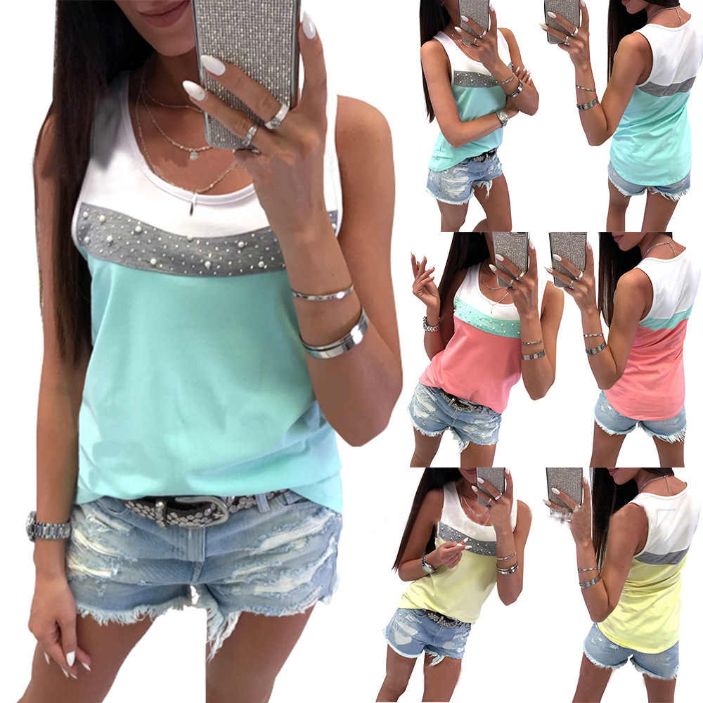 T-shirt women 2019 fashion new arrival hot summer style Europe drill nail bead color patchwork vest tshirt vestidos LDM190406