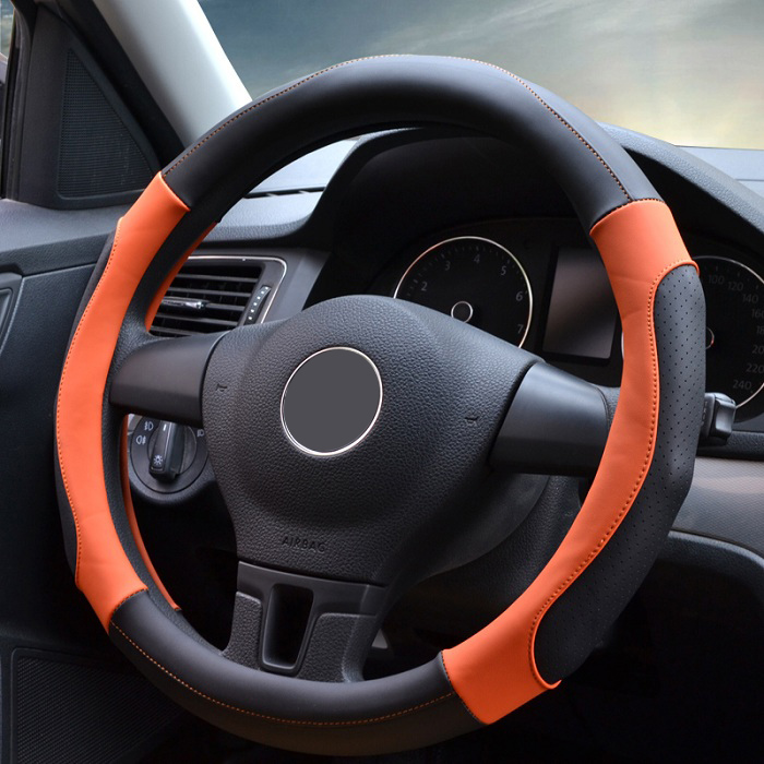 38cm Universal Car Steering Wheel Cover decoration antislip breathable fashion massage two color PU leather Wh