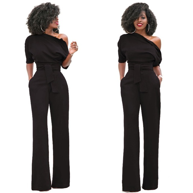 b2371956bff Inclined Shoulder Half Sleeve Coveralls With Belt Women Side Buttons  Pockets Long Pant Jumpsuit Plus Size Wide Leg Romper