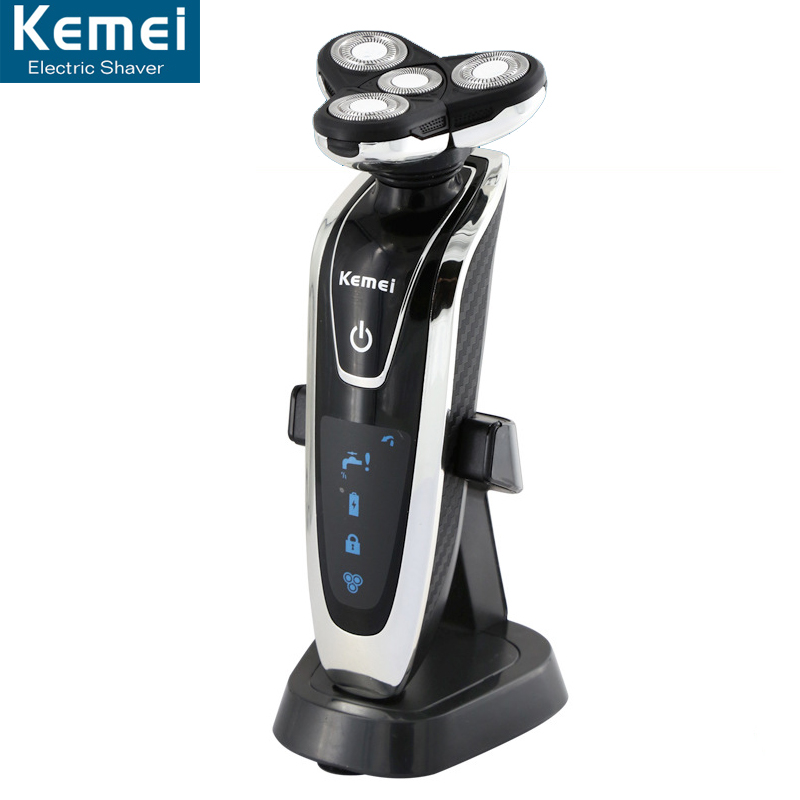 Kemei 8871 Rotary 4 font b knife b font head whole body washing electric razor Rechargeable
