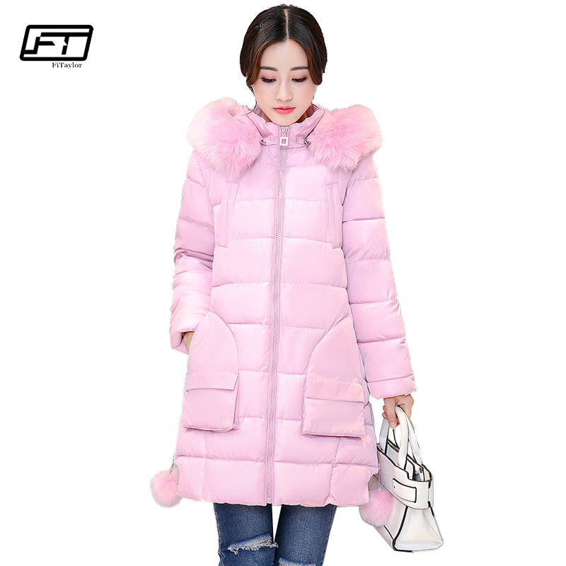 Fitaylor Winter Fur Collar Hooded Parka Jacket Women Fashion Solid Thick Cotton Padded Female Coat 2017 New Warm Jackets Outwear 2017 new women winter long jacket female fur collar hooded parka cotton padded coats fashion thick jacket plus size outwear