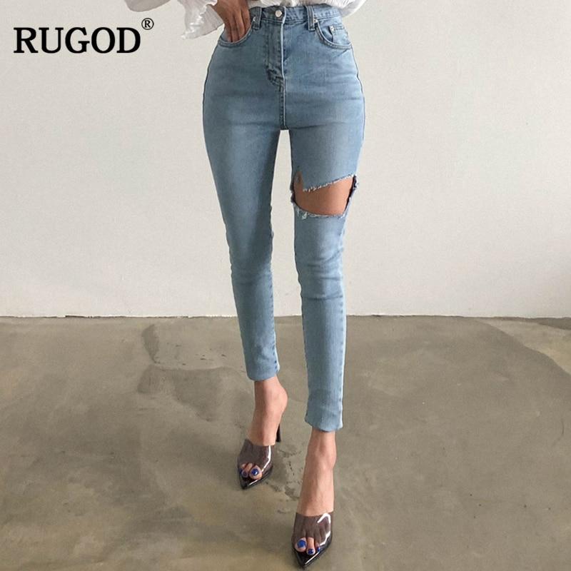 RUGOD 2019 New Korean Style Casual Women Jeans Summer Autumn Female Denim Pants Vintage Skinny Women
