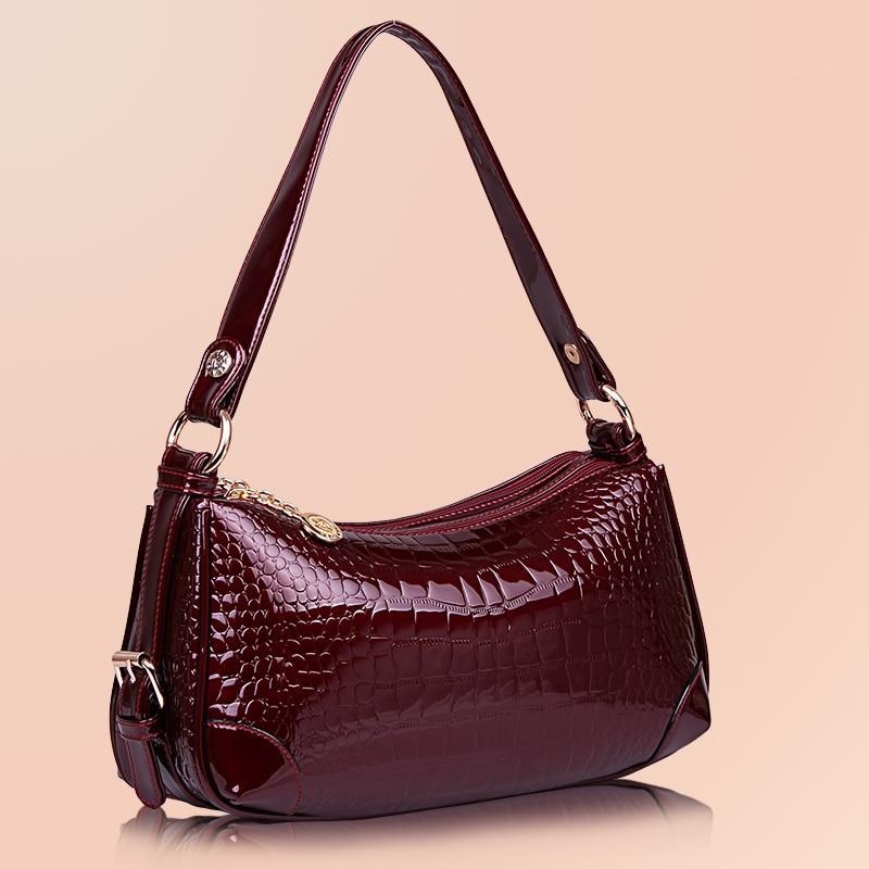 Women\'S Leather Handbags All-Match Alligator Shoulder Crossbody Bags Ladies Messenger Bag Hobos Women Bags