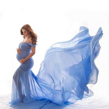 جديد الأمومة التصوير الدعامة الحمل القماش القطن الشيفون الأمومة قبالة الكتف نصف دائرة ثوب صورة إطلاق النار الحوامل اللباس