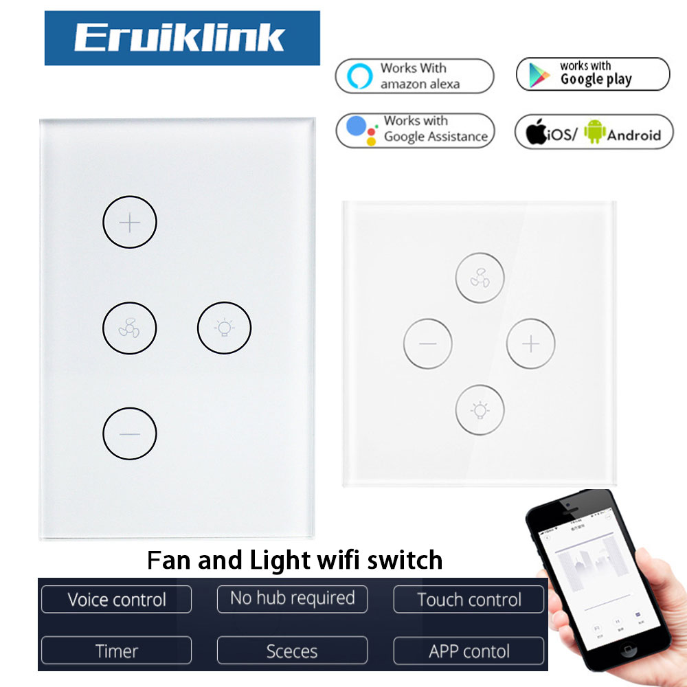 WiFi Smart Ceiling Fan Light Switch EU US Touch Panel Tuya APP Remote Timer And Speed Control Works With Alexa And Google Home