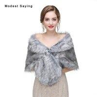 Fashion Grey Faux Fur Wedding Boleros 2017 Imitation Raccoon Fur Bridal Shrugs Warm Wraps Winter Shawls