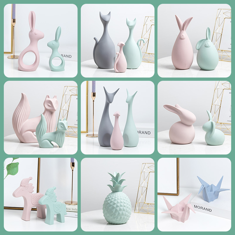 Nordic Ins Tabletop Ceramic Ornaments Macarons Home Decor Porcelain Deer/Cat/Rabbit/Horse/Pineapple/Fox Miniatures Wedding Gifts