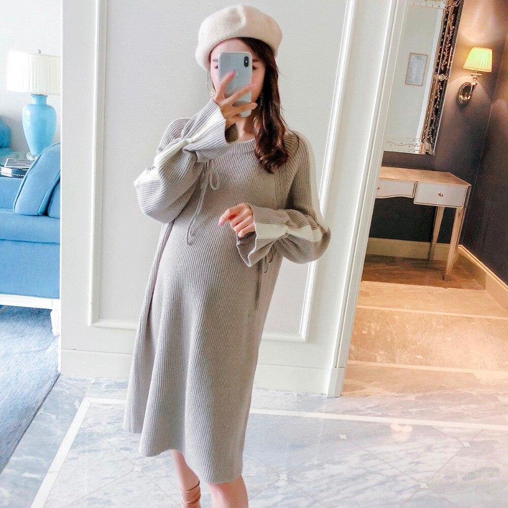 Pregnant women wearing sweaters 2018 new fashion long-sleeved drawstring loose maternity dress long tide shirt все цены
