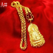 Подвеска Будда с цепочкой ожерелье жёлтое Золото Заполненные
