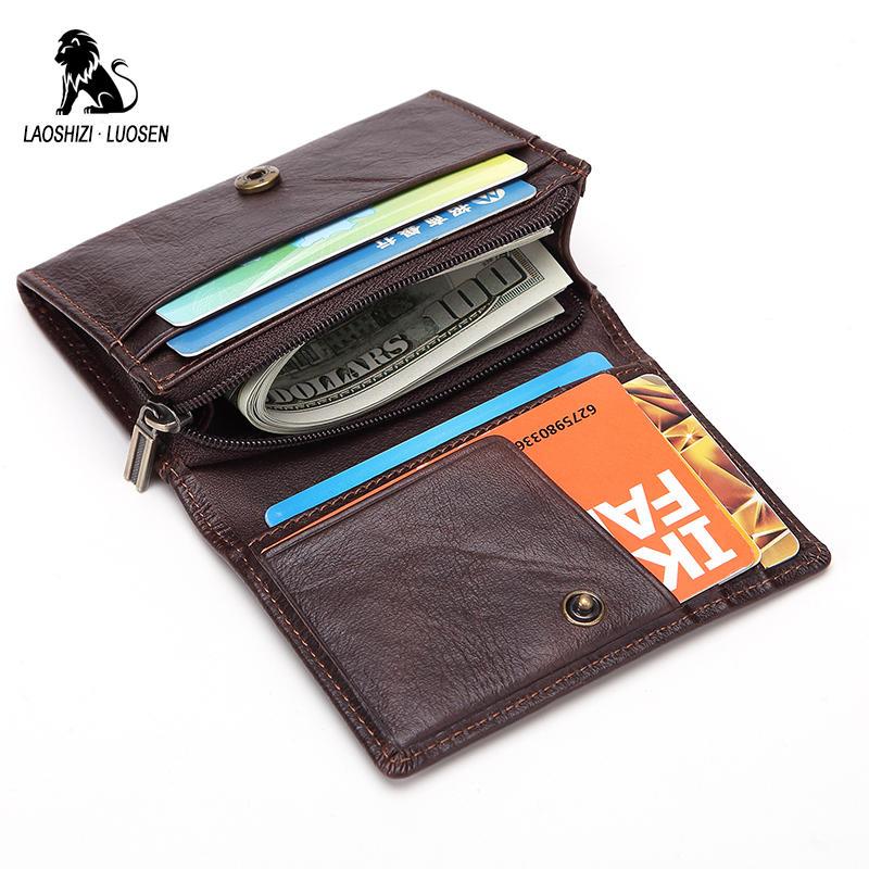 LAOSHIZI LUOSEN Genuine Leather Credit Card Holder Men Card Wallet Small Coin Purse Cardholder Male Porte Carte Bancaire
