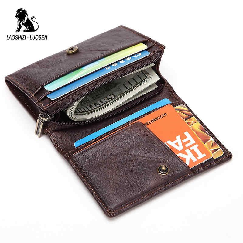 LAOSHIZI LUOSEN titular de la tarjeta de crédito de cuero genuino cartera de la tarjeta de los hombres pequeño monedero de La Moneda portatarjetas macho porte carte bancaire