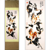 TangFoo Wall Picture Chinese Unique Crafts Gift Silk Painting Scroll Eight Flowers Chinese Traditional Gifts Spray Paintings