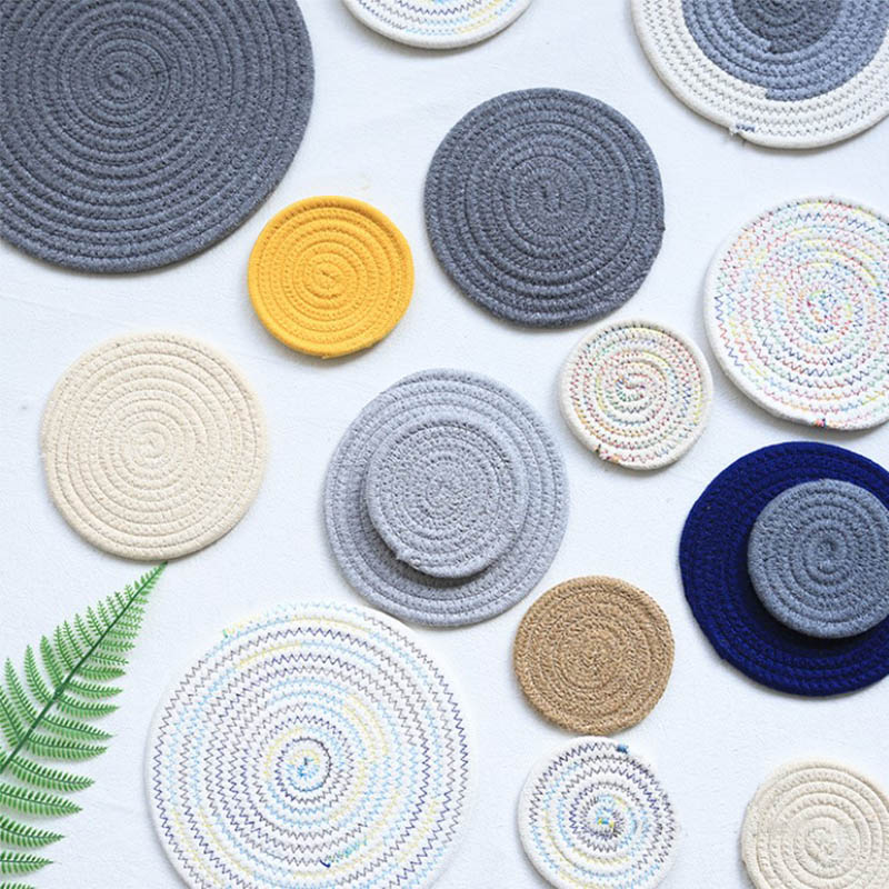 54196eb4746 Online Shop Hand-made Placemat Pad Coasters Kitchen Table Mats Cotton Linen  Knitting Bowl Mats Padding Mat Insulation Pad Round Placemats