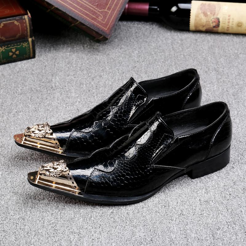 classic mens patent leather black shoes spiked loafers gold pointy toe dress shoes slipon italian shoes men oxford classic style classic mens dress shoes deep coffee color genuine leather oxford shoes for men lace up pointy loafers high heels